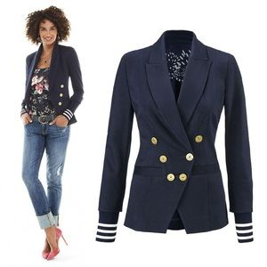 Cabi Grand Slam Navy Nautical Blazer #5150 Size 8